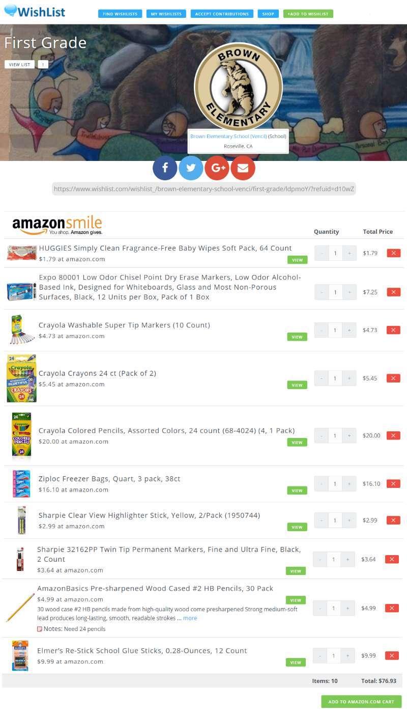 Sample Schools Supply List